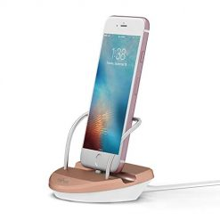 Office Base Compatible for i-Phone Charger Dock Desktop Charging Stand Station (Supports Cases 0-2mm) (White & Rose Gold)