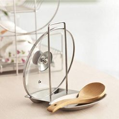 OD'lover Kitchen Stainless Steel Pot Cover Rack Holder with Water Tray Multifunction Rack Pot Lid Holders