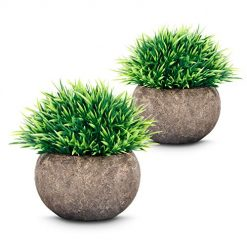 Odom Artificial Fake Plants(2Pcs) Plastic Plants Topiary Shrubs Small Artificial Faux Greenery for Bathroom,Home Decor(Updated Version)