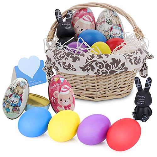 HomeMall Easter Basket Kit, Personalized Willow Handwoven Easter Basket with Liners Wood DIY Easter Eggs Chocolate Case Rabbits Hanging Ornament Easter Toy for Kids Girls Boys