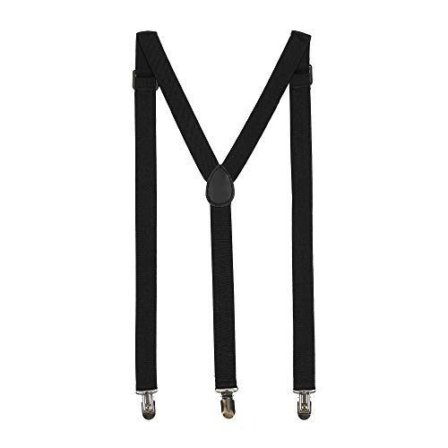 "ZHWNSY Mens Suspenders Elastic Y-Back Shirt Stays Adjustable 1"" Wide Strong Solid Straight Clips Casual(Black)"