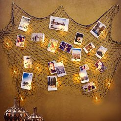 Amabana Photo Hanging Display Frames, 20 LED Photo Clip String Lights 9.1Ft with Nautical Fishing Net Decor, Battery Powered Fairy Lights with Clips for Dorm Home Party Decoration