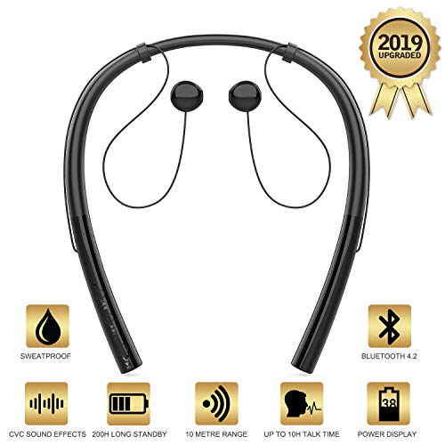 HBQ V4.2 Bluetooth Running Headphones Wireless Neckband Headset Sport Earphones CVC Noise Canceling Bluetooth Earbuds with Microphone for iPhone X/8/7/6 Android Samsung