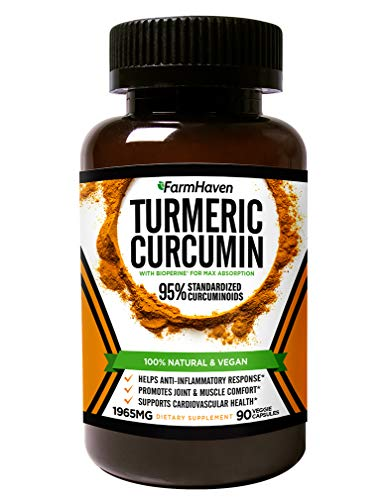 Turmeric Curcumin with BioPerine Black Pepper and 95% Curcuminoids - 1965mg Maximum Absorption for Joint Support & Anti-Inflammation, Organic Non-GMO Turmeric Capsules Made in USA - 90 Veg Caps