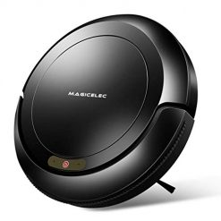 Magicelec Robotic Vacuum Cleaner, 1300Pa Strong Suction,Drop-Sensing Technology, Cleans Hard Floors Thin Carpet (Black)Magicelec Robotic Vacuum Cleaner, 1300Pa Strong Suction,Drop-Sensing Technology, Cleans Hard Floors Thin Carpet (Black)