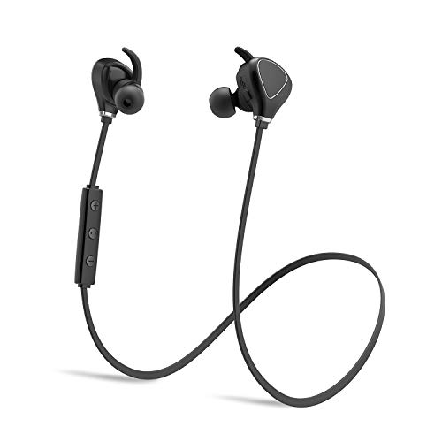 Sweatproof Sports Bluetooth Headphones KindaiYi Best Wireless in Ear Earbuds w/Mic IPX4 Waterproof Cordless Earphones Noise Cancelling Headsets for Gym Workout 10 Hours Play Time (Black)