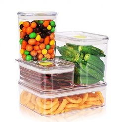 Synziar FS01 Storage Lids 4 Pieces Air-Tight Food Containers Set BPA Free, 1 White