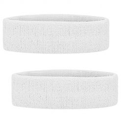 GOGO Sports Headband Sweatband Athletic Terry Cloth Head Band White 2PCS