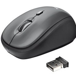 Mouse For Gamers, Trust 21432 Yvi 2.4G Wireless Portable Mouse with Storable USB Nano Reciever and 2 DPI Levels, Black