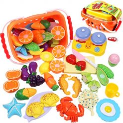 GobiDex Kids Play Food Set Pretend Food, 26Pcs Plastic Fruits Vegetables Seahorse Starfish Kitchen Toy- Pretend Play Food Playset Early Education Toy Kitchen Accessories for Toddlers Age 3 Year and Up