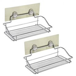 Bathroom Shower Caddy Basket, EBTOOLS Bathroom Shelf Organizer Storage Kitchen Rack with 2 Bathroom Shelves,3 Adhesives, No Drilling Stainless Steel Holder for Bathroom,Kitchen Storage - 2 PACK