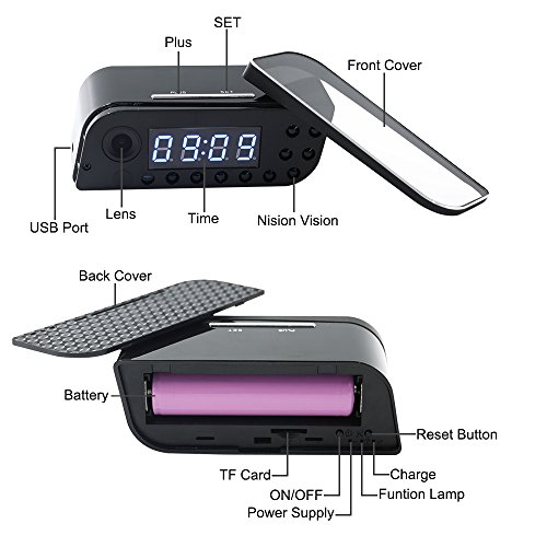 uyikoo camera, Mini Spy Hidden Camera Clock, UYIKOO 1080P Small WiFi HD Nanny Cam with Night Vision and Motion Detection, Perfect Indoor/Outdoor Covert Security Camera for iPhone/Android Phone/iPad/PC