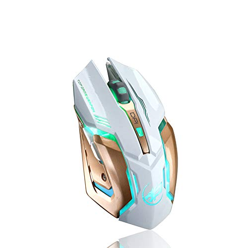 Best Mouses Gaming, Rechargeable Wireless Silent Gaming Mouse, Besde T1 Wireless Rechargeable Mouse with Colorful LED Lights and 1000/1200/1600/2400 DPI 400mah Lithium Battery for Laptop and Comput (T1, White)
