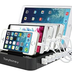 USB Charger Station,Tonyhoney 6-Port Universal Desktop Docking Station with Detachable Baffles Stand Organizer Compatible with iPhone, iPad, Tablets, Samsung,Cellphones (Black)