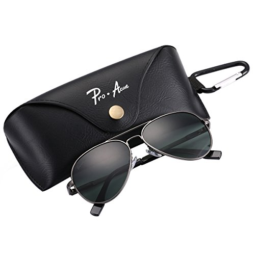 Pro Acme Glasses, Pro Acme Small Polarized Aviator Sunglasses for Adult Small Face and Junior,52mm (Gunmetal Frame/G15 Lens)