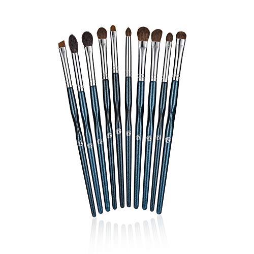 ENERGY Premium Makeup Eye Brush Eyeshadow Brush Set Eyeliner Blending Crease Kit Silvery Ferrule Starry Sky Colour Handle Essential Makeup Brushes Shader Last Longer Apply Better Makeup (10PCS)