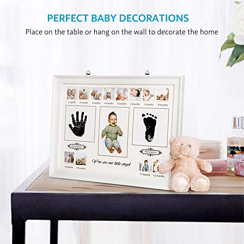 Baby Handprint Kit & Footprint, VISTION Baby Photo Frame First Year Ornament Keepsake Box for Newborn Boys & Girls, Perfect for Baby Photo Wall Decor, New Mom Gifts, Baby Shower Registry