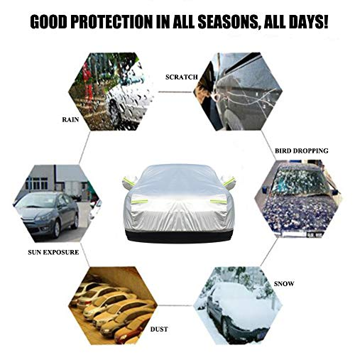 """BLIIFUU Sedan Car Cover UV Protection Car Cover for Outdoor Indoor Waterproof/Windproof/Snowproof, Full Size Breathable Cover Fit Sedan (185"""" L x 70"""" W x 60"""" H)"""