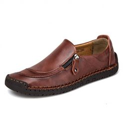 TQGOLD Mens Casual Leather Loafers Handmade Slip-On Comfortable Moccasins Shoes Driving Fashion