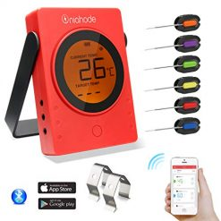 Barbecue Meat Thermometer Wireless Bluetooth BBQ LCD Remote Digital Grill Food Cooking Thermometer with 6 Probes 2 Holder Clip for BBQ Smoker Cooker Support IOS and Android Phone (Red)