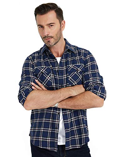 MCEDAR Men's Plaid Flannel Shirts-Long Sleeve Casual Button Down Slim Fit Outfit for Camp Hanging Out or Work (S, White-Blue)