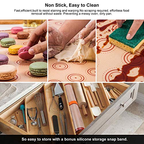 "Silicone Baking Mat Macaron Mat Kit(14pcs set) Macaroon Baking Mat Set of 2 Half Sheet Macaron Silicone Mat Nonstick Macaron Mat Sheet,6 Piping Tip,2 Piping Bag with 2 Bag Tie,1 coupler (11.6""x16.5"")"