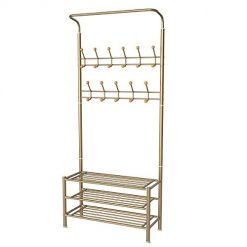 Homemaxs Entryway Coat Shoe Rack, 3-Tier Shoe Rack Hallway Organizer with Rust Resistant Metal Coat Tree, Prevent Scratching Entryway Organizer with 22 Hooks Hall Tree, Easy Assembly