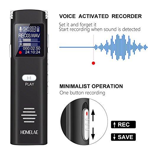 Digital Voice Activated Recorder,16GB Mini Sound Audio Recorder for Meetings, Classes,Lectures, Interviews, Portable USB Dictaphone with Noise Reduction, Rechargeable (Black)