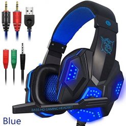 Accreate Over Ear Gaming Headset with Mic and LED Light for Laptop Cellphone PS4 Blue