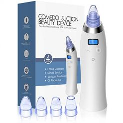 Blackhead Remover Pore Vacuum - CCFADD Upgraded USB Rechargeable Pore Sucker Acne Comedone Extractor Tool with 5 Adjustable Suction Power and 4 Replacement Probes