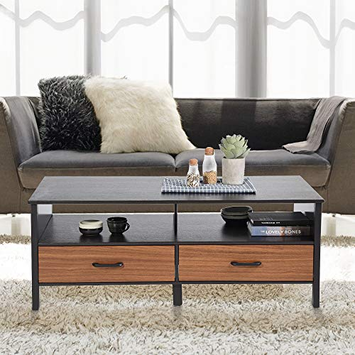 Aingoo Large Coffee Table Wooden 48in Rectangular 2 Drawers Storage Cube MDF for Living Room Sofa Table Contemporary Black Brown (Black)