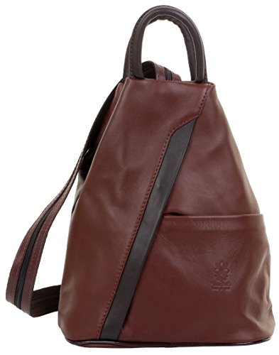 Primo Sacchi Italian Soft Napa Leather Mid Brown & Dark Brown Top Handle Shoulder Bag Rucksack Backpack, small backpacks amazon