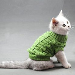 Evursua Turtleneck Pet Cats Sweater Aran Pullover Knitted Doggie Kitty Clothes Solid Colors for Kitten Chihuahua Pug (Green, XS)