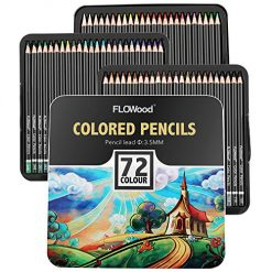 Flowood 72 Colored Pencils Soft Core Drawing Pencils Set Art Supply for Sketch Coloring Books Tin Case