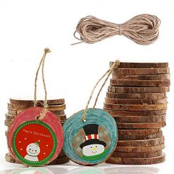 30 Pcs Unfinished Wood Slices 2-2.4 Inch Predrilled Wooden Circles with Hole Natural Hemp Ropes for Arts and Crafts DIY Craft Rustic Wedding Christmas Ornaments