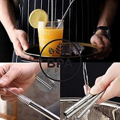 Metal Drinking Straws Multiple Size 9.5mm/8mm/6mm Wide 8.5/9.5/10.5 inch Long, with Silicone Tips, Cleaning Brush, Black Carrying Bag