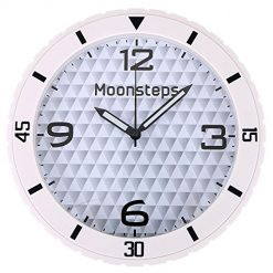 Moonsteps Silent Battery Operated Round Wall Decorative Home Kitchen Office School Clock, White