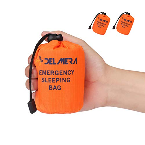 Delmera Emergency Survival Sleeping Bag, Lightweight Waterproof Thermal Emergency Blanket, Bivy Sack with Portable Drawstring Bag for Outdoor Adventure, Camping, Hiking, Orange (Orange- 2 Packs)