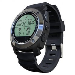Rookee Smart Watch S928 - Built-in GPS For Outdoor Sports, Bluetooth Connection, 5 sport stats (including heart rate,steps,calorie, mileage, height) (midnight black)