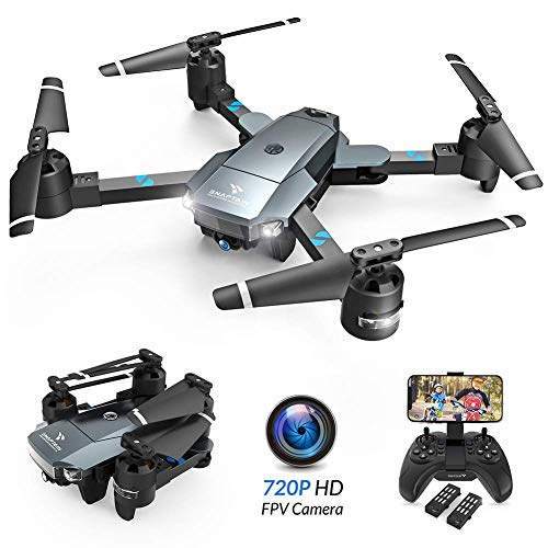 Drone Camera Best, SNAPTAIN A15 Foldable FPV WiFi Drone w/Voice Control/120°Wide-Angle 720P HD Camera/Trajectory Flight/Altitude Hold/G-Sensor/3D Flips/Headless Mode/One Key Return/2 Modular Batteries/App Control