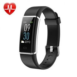 KARSEEN Fitness Tracker, Activity Tracker Fitness Watch Heart Rate Monitor Colorful OLED Screen Smart Watch with Sleep Monitor, Step Counter, IP68 Waterproof Pedometer for Android&iOS Phone (Black)