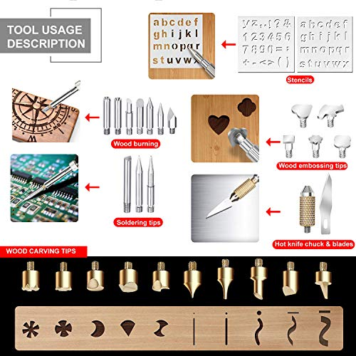 50pcs Professional Level Wood Burning Kit - Set with ON/Off Switch and Adjustable Temperature Pyrography Pen Include Various Wood Embossing/Carving/Soldering Tips