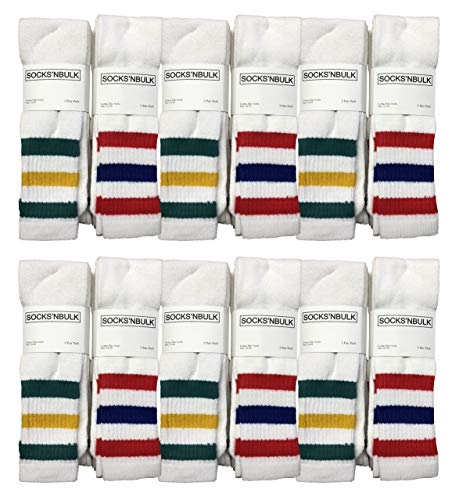 Tube Socks Wholesale, Yacht & Smith Mens Athletic Cotton Tube Socks, Wholesale Bulk Pack Referee Socks - King Size, by SOCKS'NBULK (12 Pack Assorted, King 13-16)