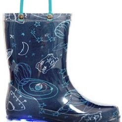 MOFEVER Boys Toddler Kids Light Up Rain Boots Printed Waterproof Shoes Lightweight Cute Blue Cosmos with Easy-On Handles and Insole (Size 5,Blue)