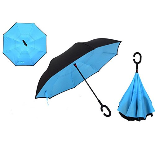 Glamore Umbrella, euow Inverted Reverse Windproof Umbrella, Double Layer Waterproof Straight Umbrella UV Protection Folding Umbrellas for Car and Outdoor Use with C-Shaped Handle and Carrying Bag