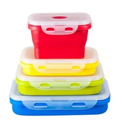 Aprila Set of 4 Silicone Food Storage Containers for leftover/fresh baby food Collapsible Kid Bento Box Stackable Boxes for Kitchen/Picnic/Business Trip BPA Free Microwave, Dishwasher, Freezer Safe