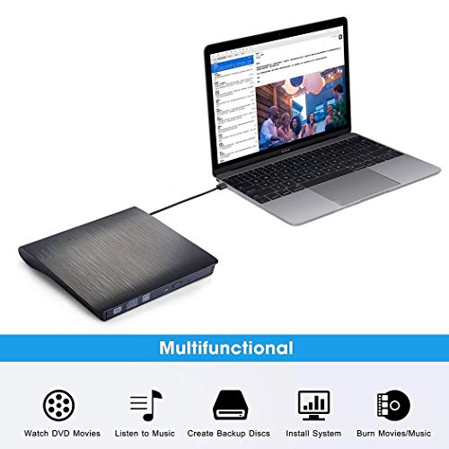 erholi Slim External USB 3.0 Portable Drive DVD CD ROM Rewriter Burner CD Drives