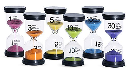 KSM UP Sand Timer 6 Colors Hourglass 1/3/5/10/15/30 Minutes Sandglass Timer  Sand Clock for Kids Games Classroom Kitchen Home Office Decoration (Pack
