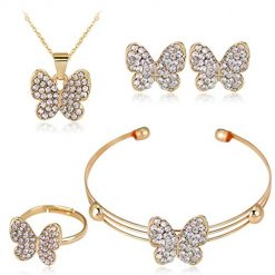 OYTRO Women Personality Earrings Elegant Bracelet Rhinestone Necklace Ring Set Jewelry Jewelry Sets