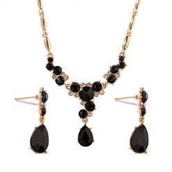 Iekofo Women Artificial Crystal Charm Chain Jewelry Set Jewelry Sets